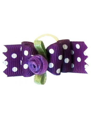 Dog bow - Violet dots