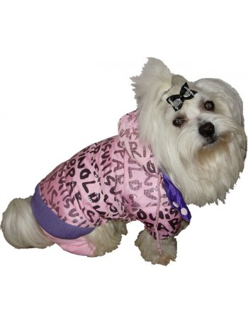Dog coat on 4 legs - Pink love paris