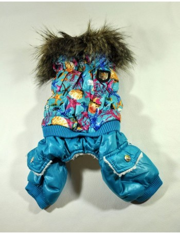 Dog winter coat - Blue marine